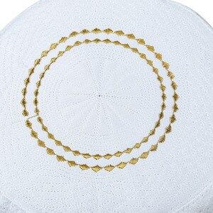 Image 4 - Erkekler İslam Müslüman Namaz Şapka Kippah Mısır Kufi Topi Işlemeli Koofi Cap Pakistanlı Namaz bere Mavi Musulman Veludo