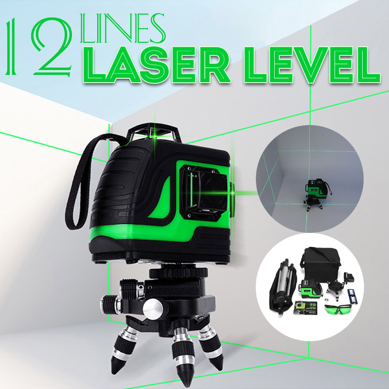 12 Lines Green Cross Line Laser Level 808nm 3D 360 Degree Rotation Auto Leveling Horizontal Vertical Laser Beam Indoor/Outdoor12 Lines Green Cross Line Laser Level 808nm 3D 360 Degree Rotation Auto Leveling Horizontal Vertical Laser Beam Indoor/Outdoor