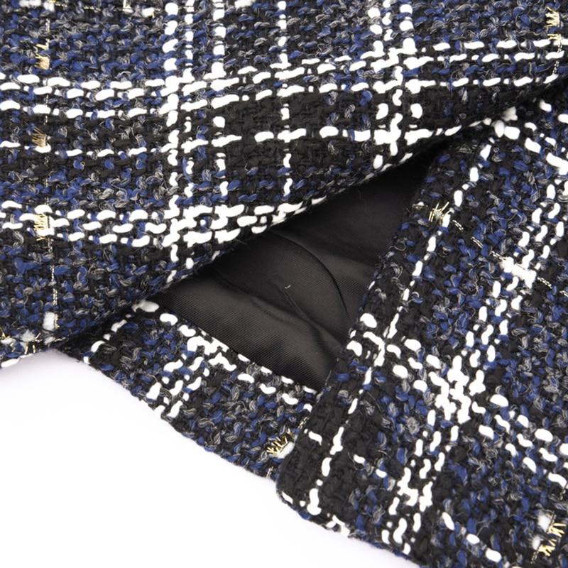 Modèle Élégant Nouveau Lâche Couvert Longues Printemps De Blue eam Bouton À Hiver Les Manches Le586 2019 Plaid down Femme Manteau Sélections Col Toutes Turn IWXYT
