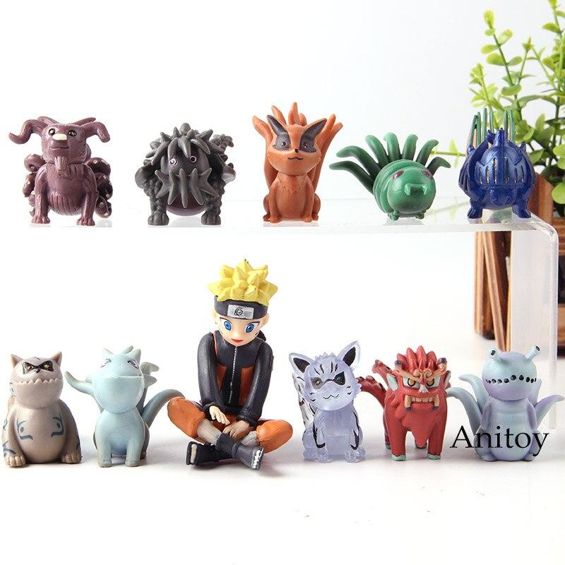 Naruto Shippuden Uzumaki Naruto Bijuu Shukaku Kitsune Hachimata Houkou Kurama Action Figure Collection Model Toys Doll 11pcs/set figurine