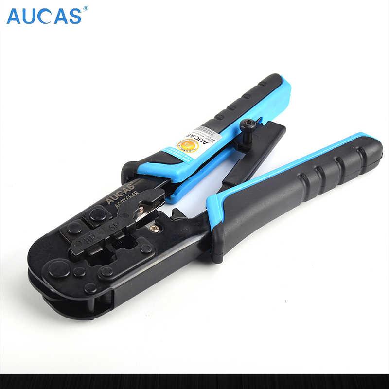 Aucas wielofunkcyjne narzędzie do zaciskania zapadkowy zaciskarki modułowe Crimper Cutter Stripper dla RJ45 CAT5e CAT6 CAT6A
