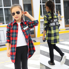 Blouses Baby Girl 2019 Spring Autumn Cotton Shirt For Teens Kids Plaid Blouse Big Size 4 6 8 10 12 14 16 Years Girl Clothes