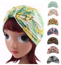 Cute Kids Girls Headscarf Muslim Bonnet Print Children Stretch Cotton Cap Arab Hats Headwear Beanies Skullies Hair Loss Fashion