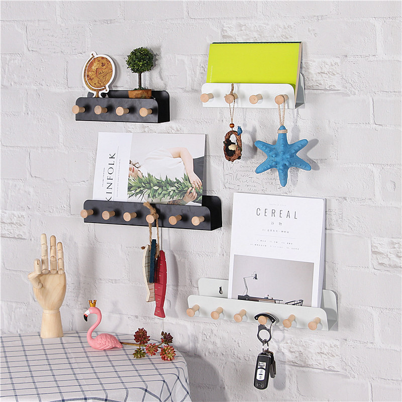 Nordic Iron Creative Wall Storage Rack With Hooks Door Key Holder Personalized Wall Mail Organizer Wall Hooks Modern Home Decor