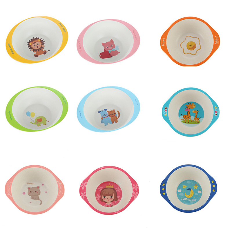 Bamboo Fiber Children's Tableware Baby Learning Bowl Cartoon Anti-scalding Baby Binaural Bowl