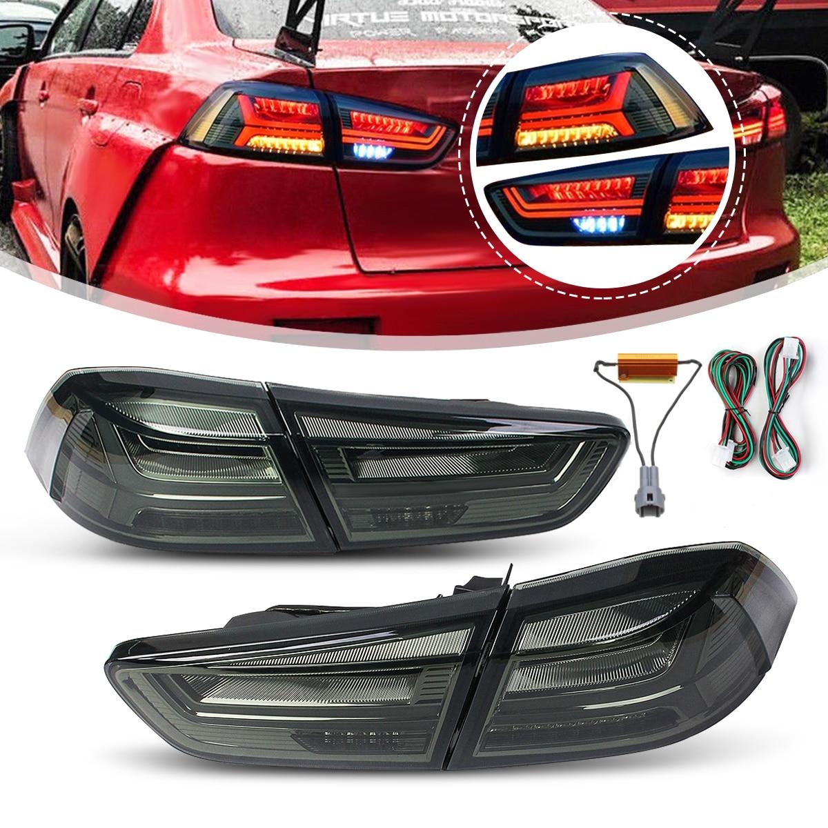 1 paire pour Mitsubishi Lancer EVO x 2008-2017 Arrière LED Queue De Frein Lumière Lampe Feu arrière Signal LED DRL Arrêter Arrière Lampe Accessoires