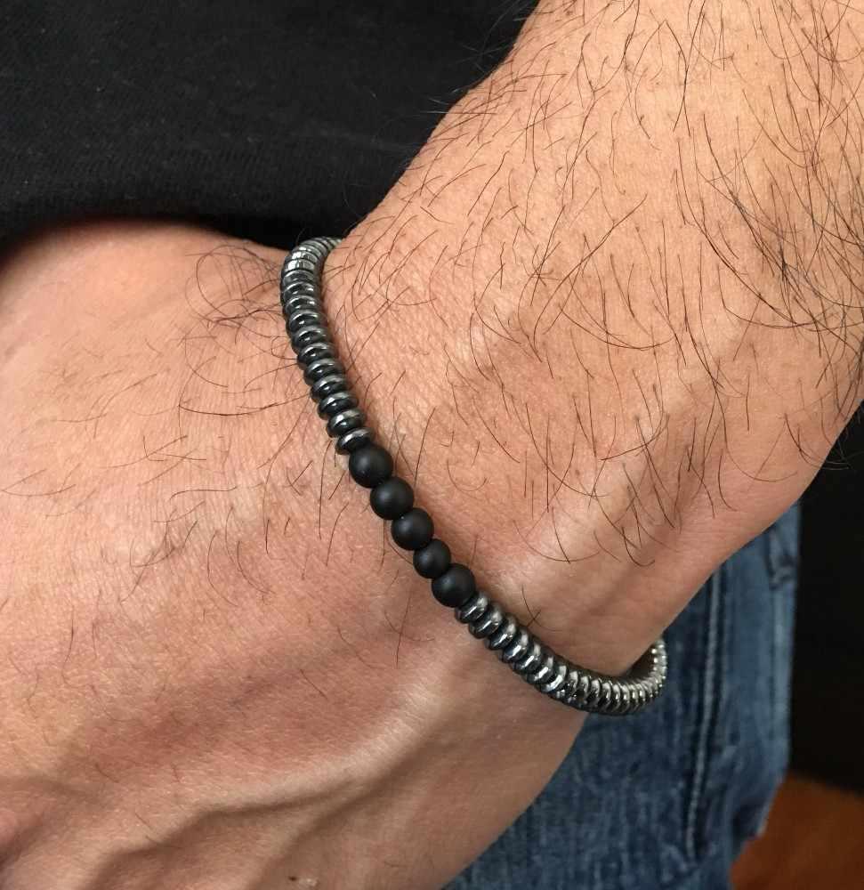 חדש עיצוב גברים צמיד אופנה קסם גיאומטרי המטיט קלאסי 6mm אבן חרוז פשוט צמידי לזוגות pulsera תכשיטים