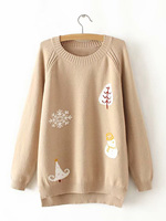 pullover sweater Winter Women Casual Warm snowman snowflake pattern Plus Size Long Sleeve Knitwear knitting Tops Sweater ladies