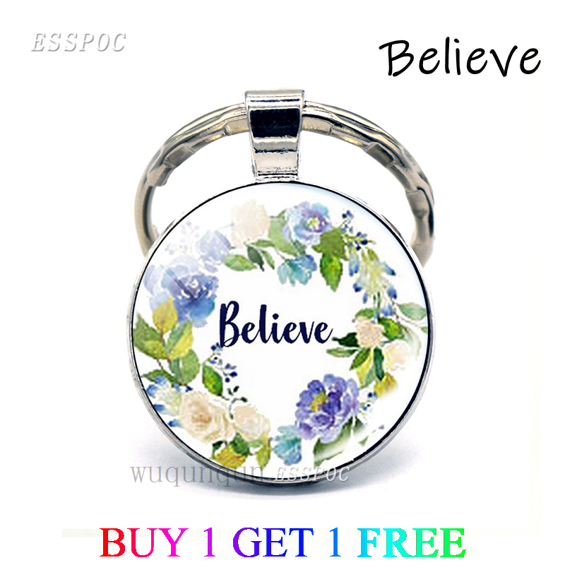 Believe Bible Verse Quote Key Chain Glass Cabochon Jewelry Keychain Christian Pendant Inspirational Keyring Gifts