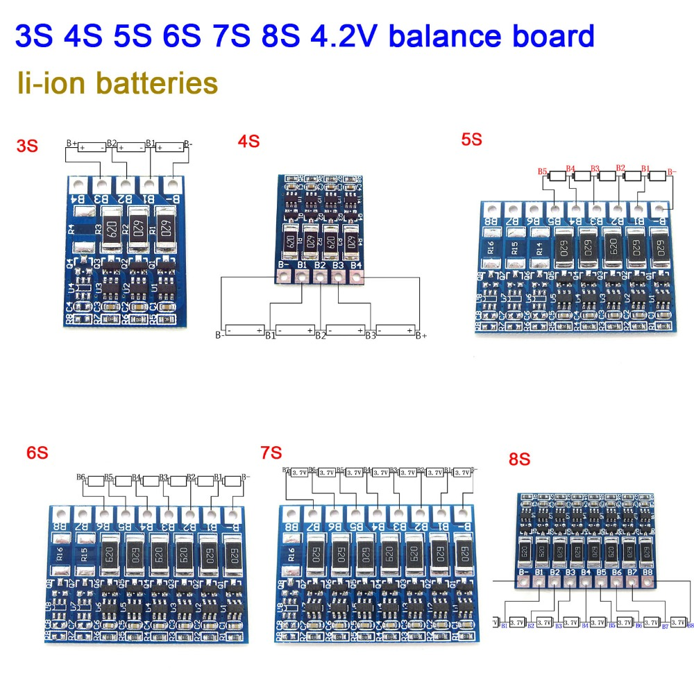 DYKB 3S 4S 5S 6S 7S 8S 4.2v Li-ion Batteries Balancer Board Lithium Balncing Full Charge Battery Balance Board 3.7V Cells