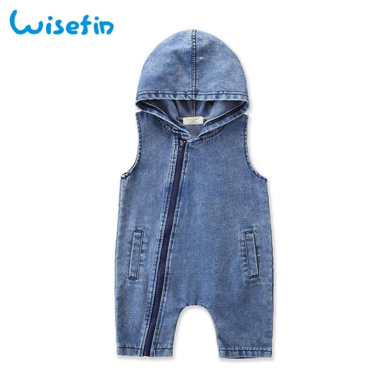 Wisefin 2019 Summer Overalls For Children Denim Hoodies Baby Clothes Newborn Sleeveless Zipper Clothing Romper