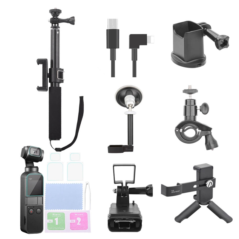 For Osmo Pocket Accessories Set,Ptz Adapter With Ptz Extension Rod And Car Bracket And Bicycle Bracket And Film 2 Suit And Bac-in Tripods from Consumer Electronics