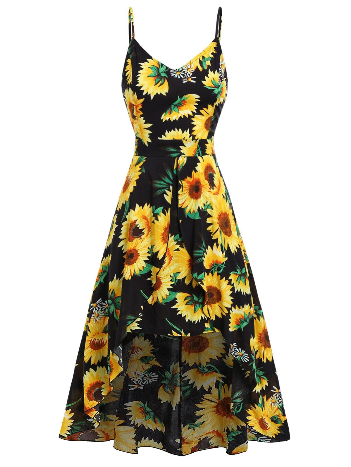 US $13.09 48% OFF|Wipalo Women Plus Size Sunflower Printed Cami Maxi Dress  Split High Low Hem Casual Holiday Dress Ladies Summer Beach Vestidos-in ...