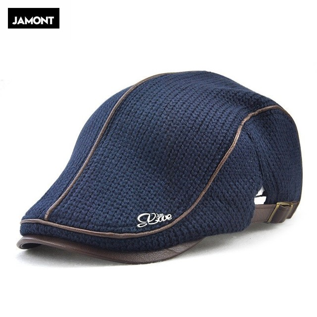 Jamont Mens Knitted Wool Beret Cap Winter Warm Hat For Male Visor Flat Cap  Boina Cabbie Caps Elderly Men Newsboy Hats 93a0e5811845