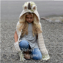 Crochet Winter Hats For Kids Girls Unicorn Warm Shawl Scarf Set Cute Children Bonnet Hat for Girl With Two Pockets Free Shipping