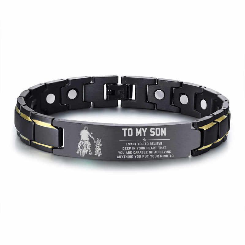 Pulsera de identificación de la salud de la terapia magnética de regalo personalizada gratis hombres a mi hijo Cadena de acero inoxidable negro