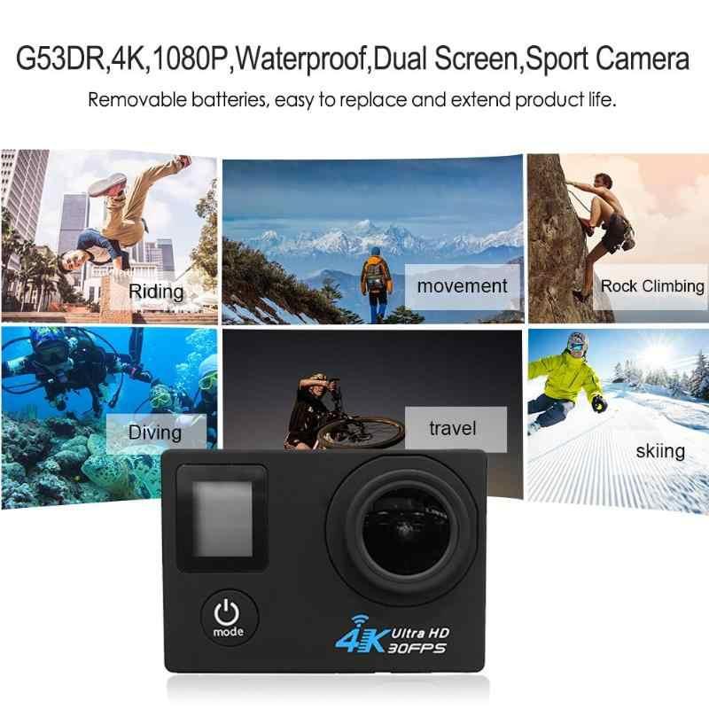 G53DR 4 K 1080 P wifi Подводная Водонепроницаемая камера 0,66 дюймов + 20 дюймов двойной экран wifi высокоспортивная камера для записи видео