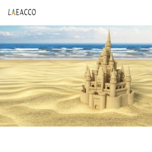 Laeacco Sea Beach Sand Castle Backdrop Baby Portrait Photography Background Customized Photographic Backdrops For Photo Studio