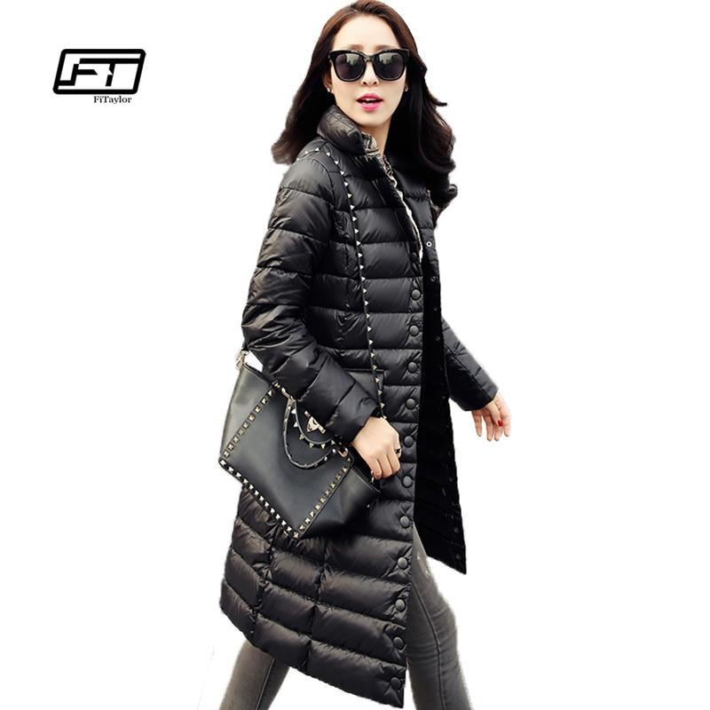 Fitaylor ใหม่ผู้หญิงฤดูหนาวแจ็คเก็ตเป็ดสีขาว 90% ลง Parkas Ultra Light Down Coat อบอุ่นหิมะ Overcoat-ใน เสื้อโค้ทดาวน์ จาก เสื้อผ้าสตรี บน   1