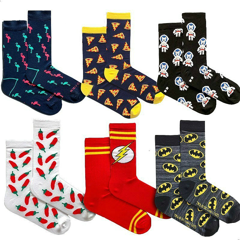 Novelty Men &Women   Socks   Funny Cartoon Hero Character Hulk Superman Food Pizza Colorful Harajuku Cotton   Socks   Calcetines Hombre