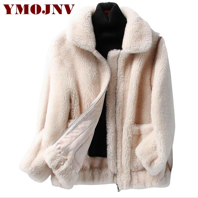 YMOJNV Nouvelle Vraie Fourrure manteau Femme Grande Taille Naturel Tonte des Moutons manteau D'hiver Laine Veste Femmes Granulé En Laine D'agneau manteau