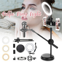 LED Ring Lamp 3 colors 16cm Dimmable Light Stand Kit Phone Photo Selfie Video Makeup Live Photographic 69cm Tripod Phone Holder