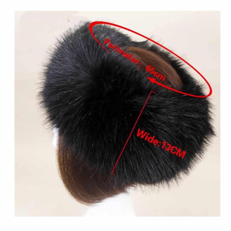 016a9b172fd ... Women Winter Thick Fluffy Russian Cap Faux Fur Headband Hat Lady Winter  Warm Earwarmer Ski Hats ...