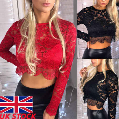 Womens Ladies Lace Long Sleeve Bodycon Tees Shirt Pullover Casual Tee Top Ladies Slim Lace Top Short Clothing T-shirts Female