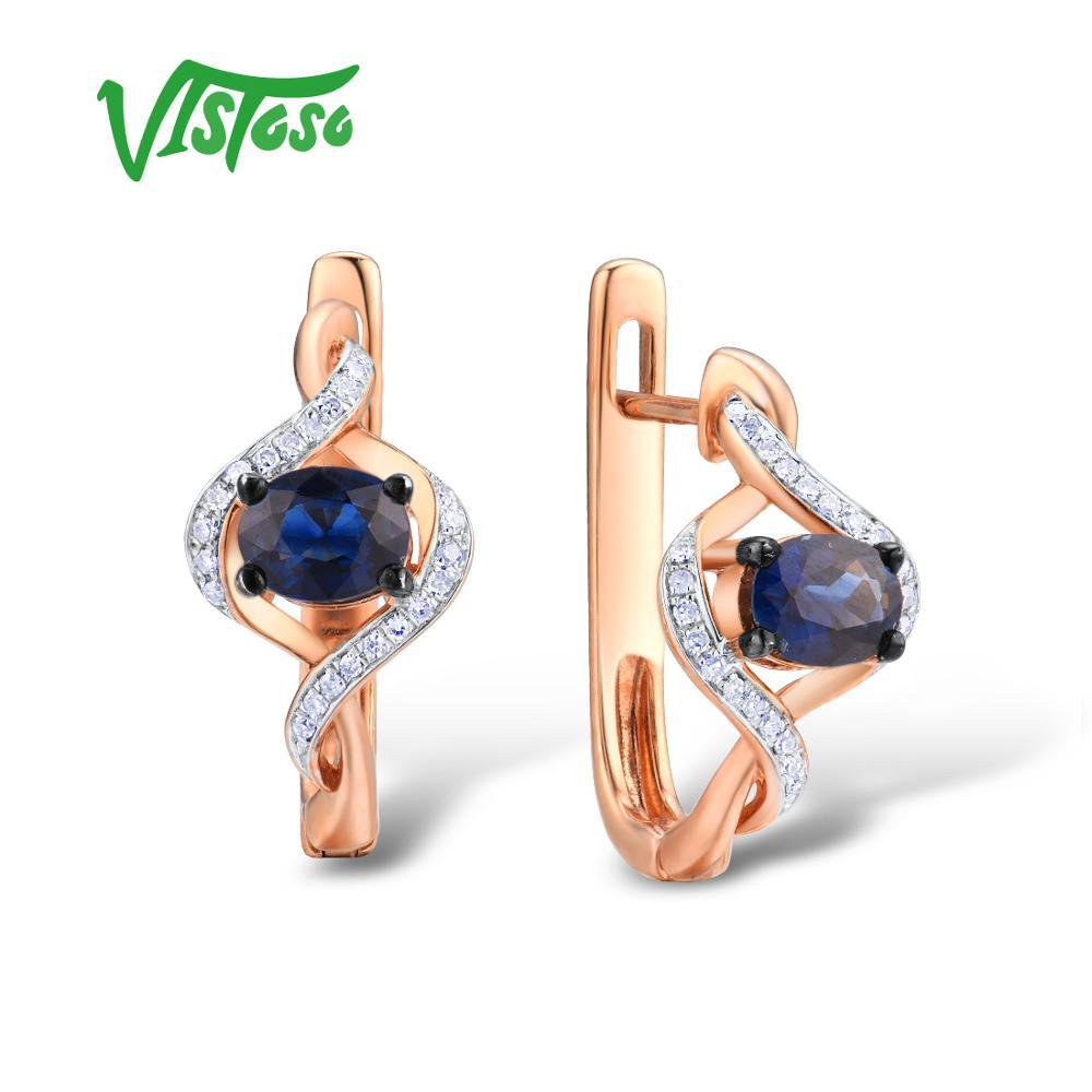 VISTOSO Gold Earrings For Women Genuine 14K 585 Rose Gold Luminous Blue Sapphire Luxury Diamond Vintage