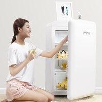 121L мини ретро портативный холодильник морозильник свежая еда хранение Uni body холодильник Icemaker для дома низкий noice высокое качество
