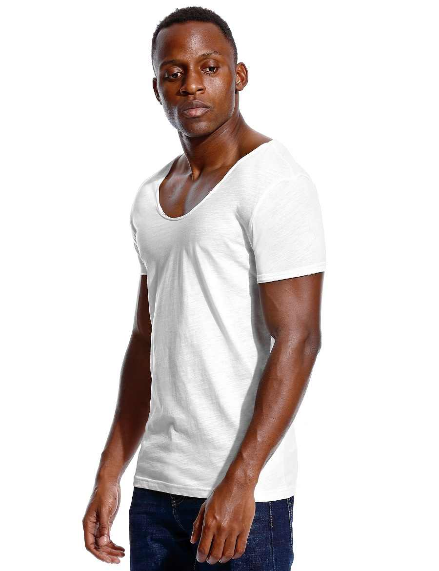 97596cf5 ... Scoop Neck T Shirt for Men Low Cut Deep V Neck Wide Vee Tee Male Tshirt