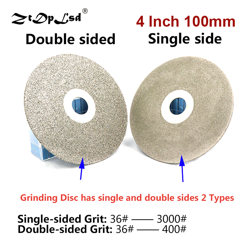 4Inch 100mm 36-3000# Diamond Coated Grinding Disc Single Double Side Flat Lap Wheel Lapidary Polishing For Jade Agate Crystal