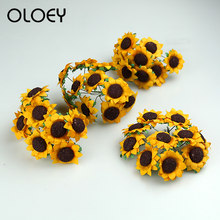 Oloey New 2019 Family Reunion Wedding Party Decoration Mini DIY Paper Artificial Sunflower African Chrysanthemum 10 Pcs/lot(China)