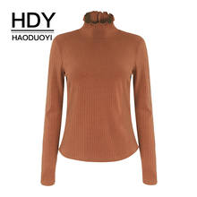 HDY haoduoyi Thick Turtleneck Warm Women Autumn Winter Knitted Femme Pull High Elasticity Slim Sweater