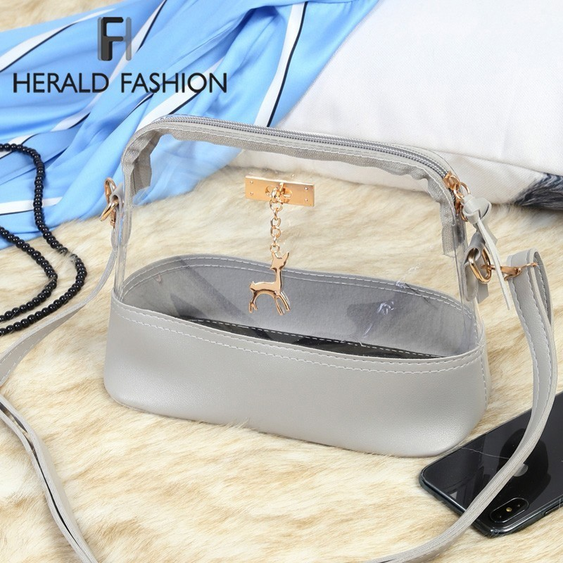 Herald Fashion Women Transparent Bag Clear PVC Jelly Small Shell Bag Female Summer Beach Shoulder Bags Ladies' Messenger Bag Sac