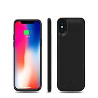 For iPhone X XS 5000mAh Battery Charger Phone Case Slim External Battery Portable Charger Protective Phone Cover with Kickstand