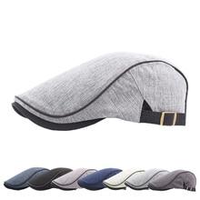 118fb6adcc4 New Fashion Retro Cabbie Hats Beret Men Vintage Golf Caps Adjustable Baker  Peaked Hat Linen Cotton