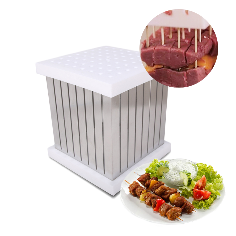 ITOP BBQ Skewers Kebab Maker Box 64 Holes Brochette Slicer BBQ Forks Meat Maker Barbecue Tool Kebab Skewer Machine