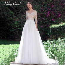 Ashley Carol A-Line Wedding Dress V-neck Long Sleeve
