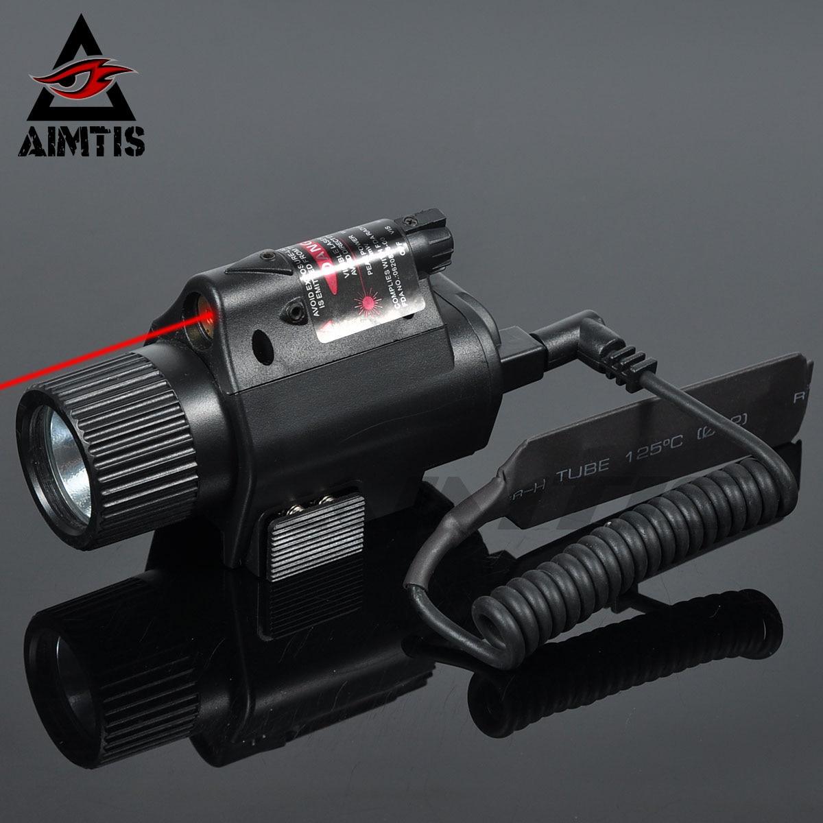 AIMTIS Mini Glock Pistol Gun Light Hunting Camping Gun Lighting Equipment Flashlight Tactical Sight Red Laser LED Flashlight