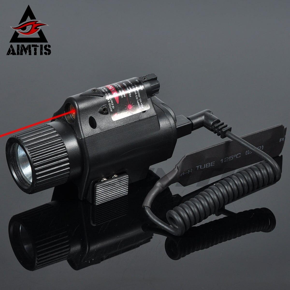 Aimtis ミニ glock ピストル銃ライト狩猟キャンプ銃照明機器懐中電灯戦術視力赤色レーザー led 懐中電灯
