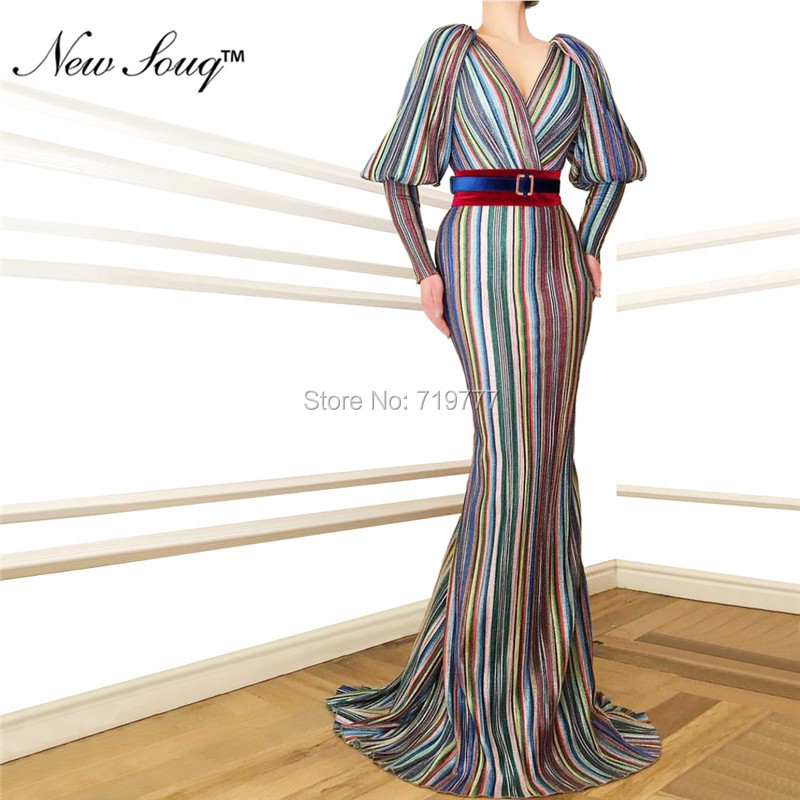 Date 2019 réfléchissant robes De soirée dubaï musulman arabe caftan Robe De soirée Robe De soirée manches longues Robe De bal robes