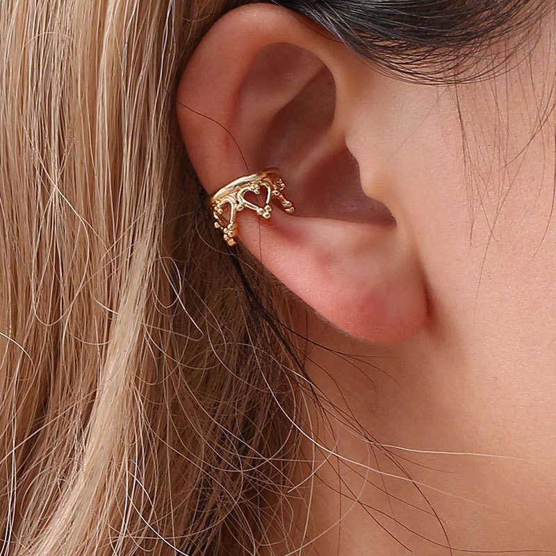 クラウン美しい 1PC シルバー黒水滴 u 字型自由奔放に生きるゴールデン耳クリップ結婚式幾何なし耳穴バレンタインギフト