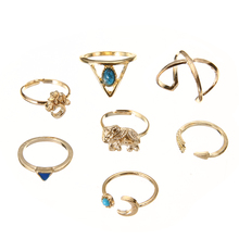7pcs/Set Fashion Chic Gold Color Rings Cute Cross Arrow Moon Elephant Finger Knuckle Ring Bohemian Charms Jewelry Gift For Women chic solid color crown arrow hairpin for women