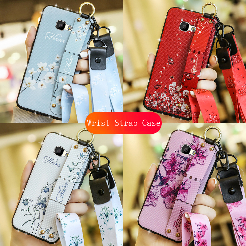 Diamond Wrist Strap Neck Case For Samsung Galaxy J4 J6 J8 2018 J2 Prime J4 Plus Core J3 J5 J7 2016 2017 Soft Cover With Lanyard image