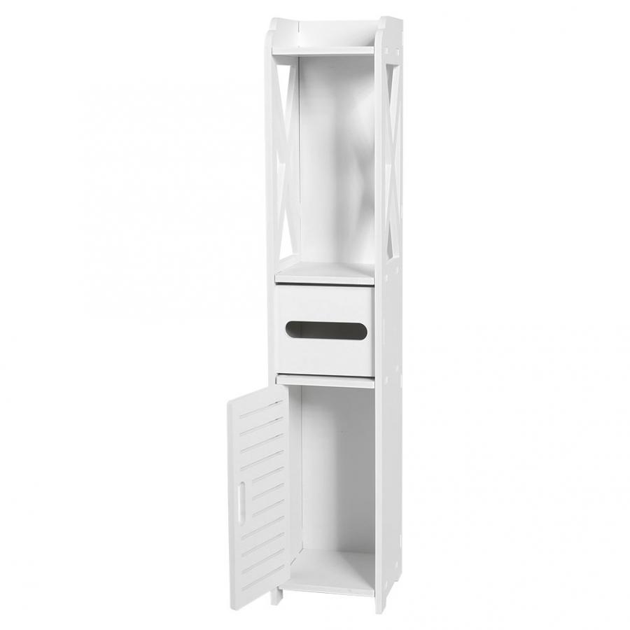 Bathroom Cabinet 80X15.5X15.5CM Bathroom Toilet Furniture Cabinet White Wood-Plastic Board Cupboard Shelf Tissue Storage Rack