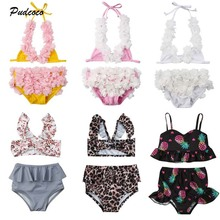 2019 Brand 2Pcs Toddler Baby Girl Leopard Swimwear Summer New Flower Bikini Set Bathing Suit Outfits Swimsuit Beachwear 0-5Y