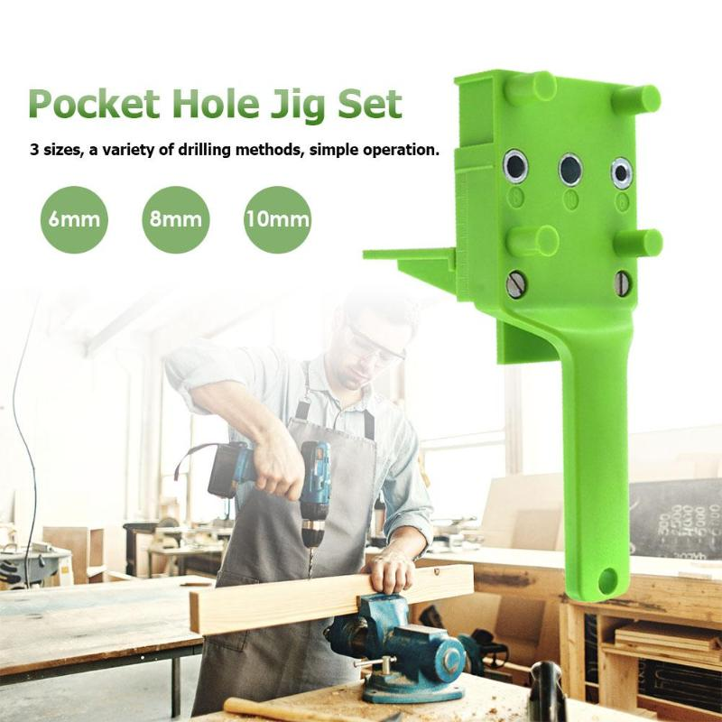 1/8/38pc Pocket Hole Jig ABS Plastic Woodworking Handheld Jig For 6/8/10mm Drill Bit Dowel Joints Drilling Carpentry Guide Tools