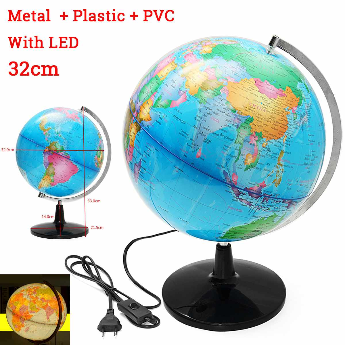 32CM LED Light Terrestrial World Globe Earth Map Geography Education Toy Map With Rotating Stand Home Decoration Office Ornament32CM LED Light Terrestrial World Globe Earth Map Geography Education Toy Map With Rotating Stand Home Decoration Office Ornament