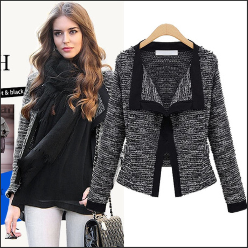 Autumn Elegant Women Blazers V-Neck Long Sleeve Formal Black Woolen Jackets Plus Size Casaco Patch Knot Slim Women